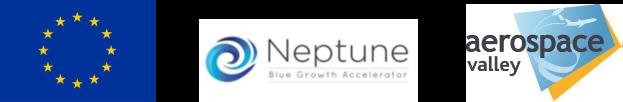 Bandeau de Logo comportant le drapeau européen, Le logo de Neptune (Blue Growth Accelerator) et Aerospace Valley