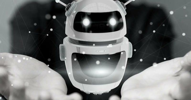 Image en noir et blanc d'un robot, mascotte de l'évènement Robocup 2021